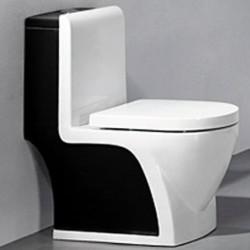 800-2008BW Унитаз моноблок черно-белый MELANA